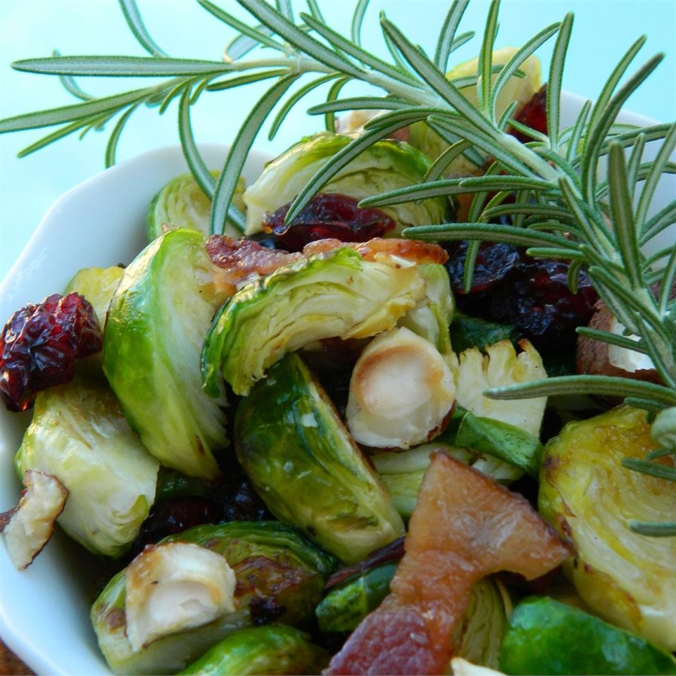 Warm Brussels Sprout Salad with Hazelnuts and Cranberries - Printer Friendly