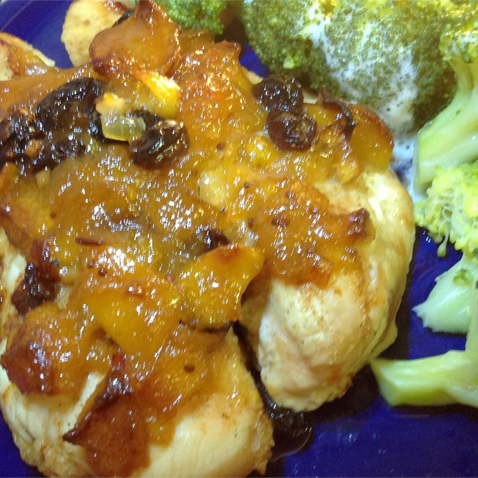 Broiled Chicken Breasts with Chutney-Lime Glaze and Broccoli Slaw Ben Shapiro