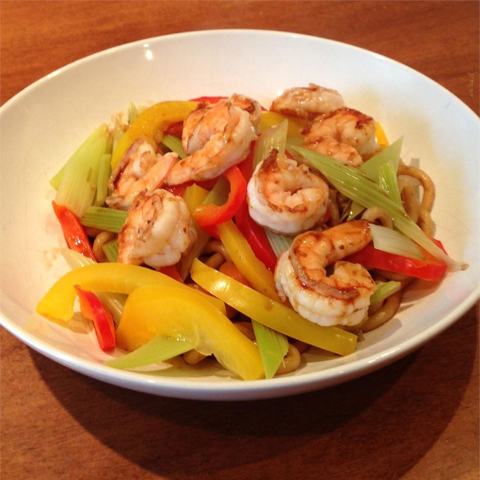 Prawns and Vegetables Over Pan-Fried Udon Noodles