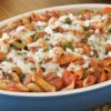 Contadina(R) Garden Vegetable Pasta Bake Recipe - Carrots, red and green bell peppers, mushrooms and mozzarella are baked with spicy sliced sausage and pasta in a rich tomato base.