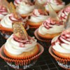 Bloody Broken Glass Cupcakes Recipe - Hard candy 'shards' and edible blood decorate these spooky Halloween cupcakes.