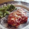 Salsa Chicken Recipe and Video - Chicken seasoned with taco seasoning and topped with salsa, then baked.