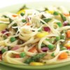 Pasta Primavera with Lemon-Caper Sauce Recipe - Colorful, crisp-tender veggies are tossed with linguine pasta and a creamy lemon-caper sauce and served with shredded Parmesan cheese.