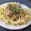 Slow Cooker Beef Stroganoff I Recipe and Video - Beef, condensed golden mushroom soup, chopped onion, and Worcestershire sauce simmer in a slow cooker for easy beef stroganoff.