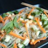 Vietnamese Rice Noodle Salad Recipe - Cooked rice noodles are mixed with carrots, cucumbers, mint, and napa cabbage. A sauce made with cilantro, jalapeno peppers, lime juice, fish sauce, and sugar is spooned on top.