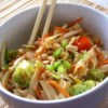 Asian Pasta Salad with Beef, Broccoli and Bean Sprouts Recipe - A creamy Asian dressing nicely compliments this pasta salad with broccoli, red pepper, bean sprouts, and peanuts.