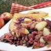 One Skillet Corned Beef Hash Recipe - Corned beef, taters, onions, pepper and vinegar make this a hearty, quick-fix skillet meal. It's great with spinach on the side, and marvelous with fried eggs.