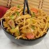 Yakisoba Chicken Recipe - A classic, justifiably popular Japanese stir fry in which chicken cooked in a yummy soy sauce, chili paste garlic blend is tossed with buckwheat soba noodles, carrot, cabbage and onion.