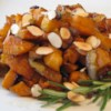 Roasted Sweet Potatoes & Onions Recipe - This delicious side dish is packed with nutrition. Sweet potatoes, onions and almonds are powerhouses of antioxidants and other nutrients -- in fact, almonds are among the most nutrient-dense foods, containing high concentrations of vitamins and minerals per calorie. Plus, olive oil and almonds contain monounsaturated fat -- the good type.