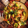 Skillet-Braised Brussels Sprouts Recipe - Brussels sprouts with bacon and garlic are braised in the skillet for a quick and easy side dish.