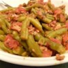 Sweet Italian Green Beans Recipe - Crisp bacon, Italian tomatoes, brown sugar, green beans... everyone loves this unusual mixture of ingredients. It usually doesn't last long.