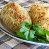 Hasselback Potatoes Recipe and Video - Seasoned potatoes are sliced into fans, drizzled with melted butter, and baked with a cheesy breadcrumb topping.