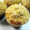 Jumbo Fluffy Walnut Apple Muffins Recipe - A large fluffy muffin with a sweet buttery topping.