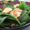 Spinach Salad with Baked Goat Cheese Recipe - This is a wonderful way to add elegance and flavor to spinach. The warm goat cheese melts in your mouth and nicely accents the balsamic vinegar.