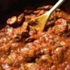 Savory Italian Sausage Sauce Recipe - This is a great homemade sauce. It's savory and spicy, as well as thick and chunky. The secret is the combination of Italian sausage, green onions, red wine and red pepper flakes. Easily double or triple amount and top on anything! Even better the next day. Enjoy.