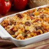 Sausage Pizza Bake Recipe - All the best flavors of pizza are baked together in this quick macaroni casserole.