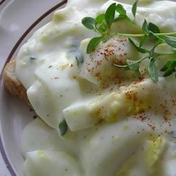 Creamed Hard Boiled Eggs GOURMETFOX