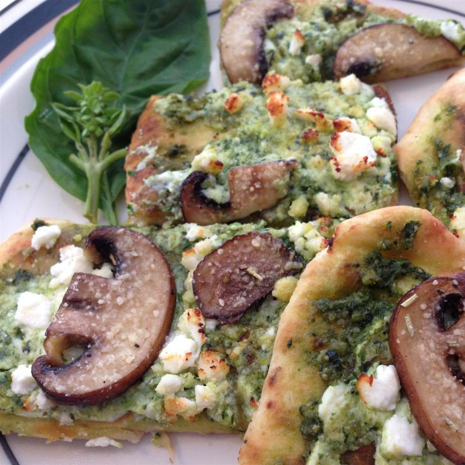 Basil Pesto and 3-Cheese Naan Pizza