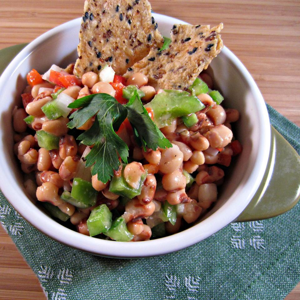 """Black-eyed peas in a zesty marinade make a wonderful dip for tortilla chips or bread,"" says Gabrielle. ""Serve at room temperature."""