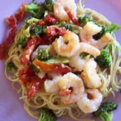 Shrimp, Broccoli, and Sun-dried Tomatoes Scampi with Angel Hair