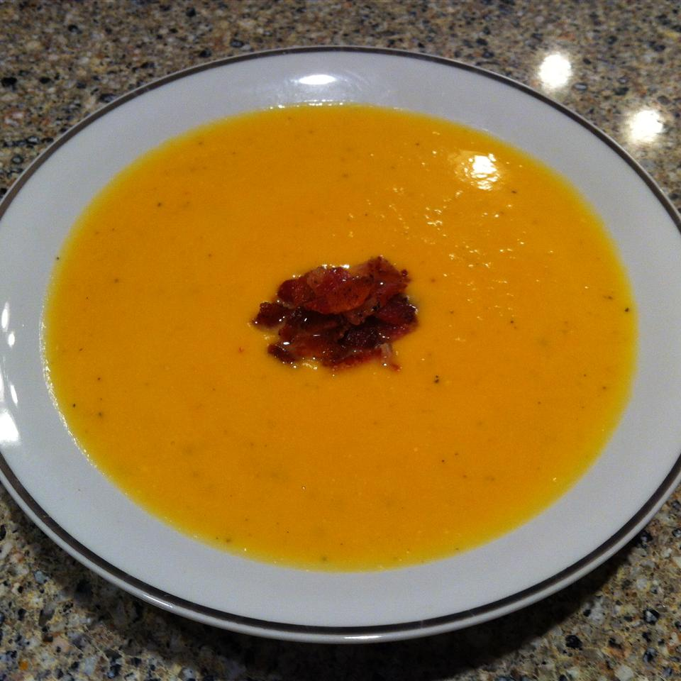 Roasted Butternut Squash and Sweet Potato Bisque with Smoked Applewood Bacon