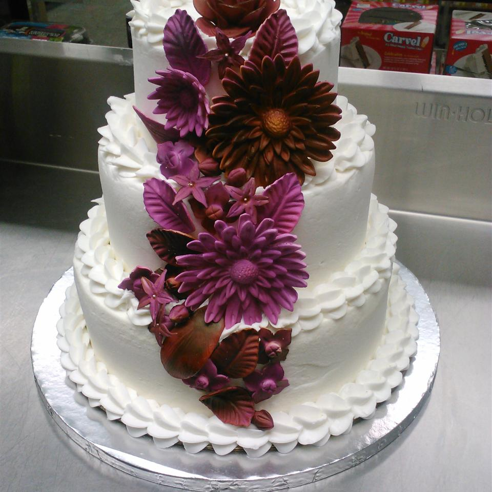 Purple And Gold Lace Wedding Cake I Love The Ombre Ruffles And