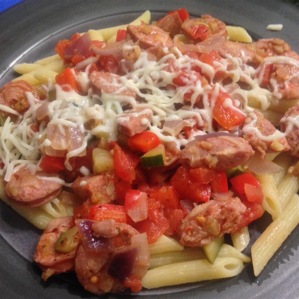 Penne, Peppers, and Chicken-Apple Sausage Saute MJdeCA