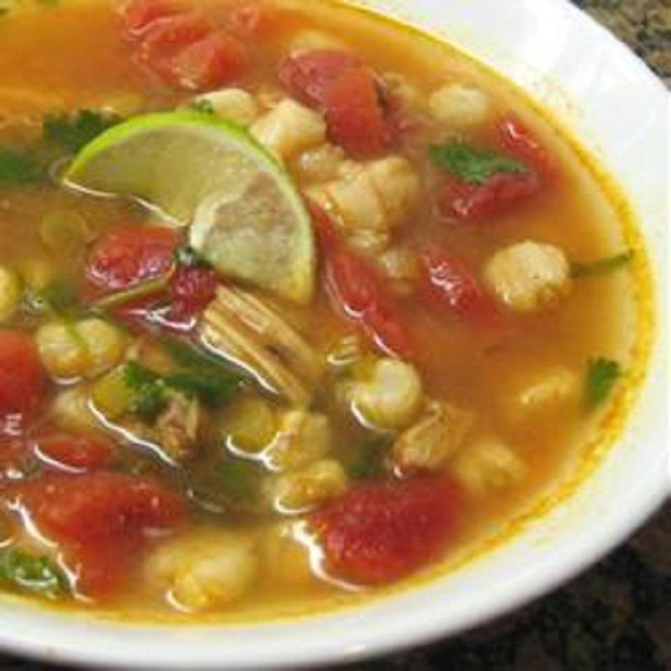 Chicken and Hominy Soup with Lime and Cilantro Nyki