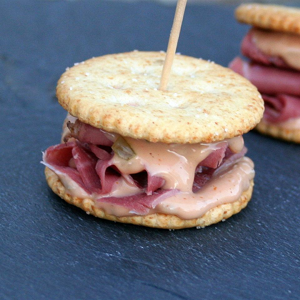 RITZ Pastrami and Corned Beef Mini Sandwich, created by Carnegie Deli
