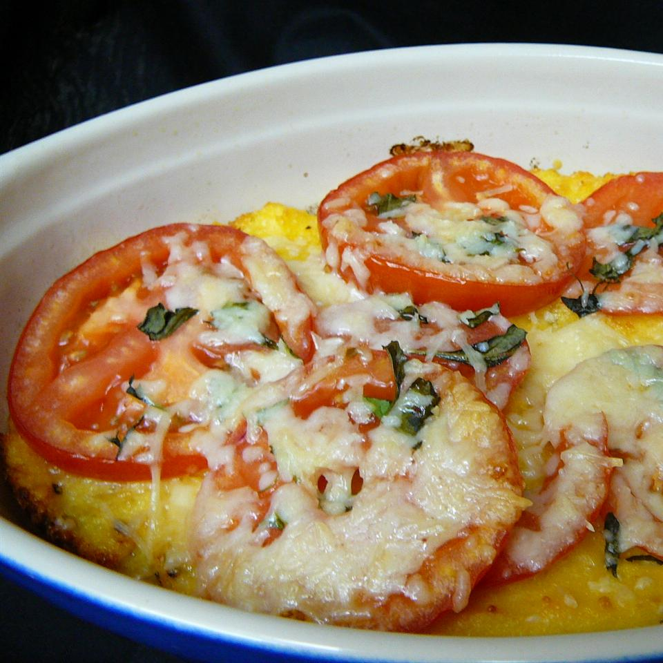 Baked Polenta with Fresh Tomatoes and Parmesan
