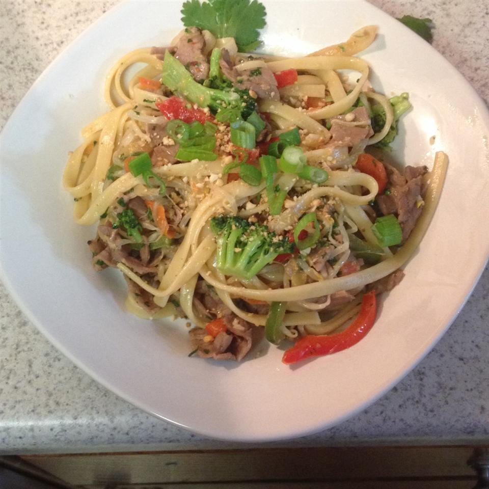 Asian Pasta Salad with Beef, Broccoli and Bean Sprouts Jamie Knudsen Krouskop