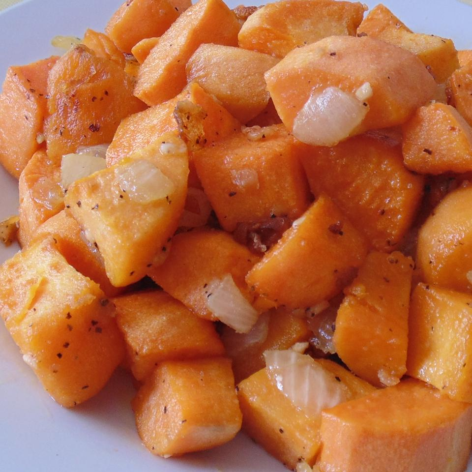 Diced Sweet Potatoes with Onions and Garlic