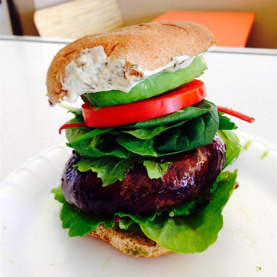 Grilled Portobello with Basil Mayonnaise Sandwich Annie