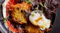 More pictures of Rainbow Potato Pancakes with Harissa and Eggs