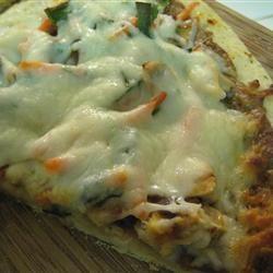 Gourmet Thai Chicken Pizza wifeyluvs2cook