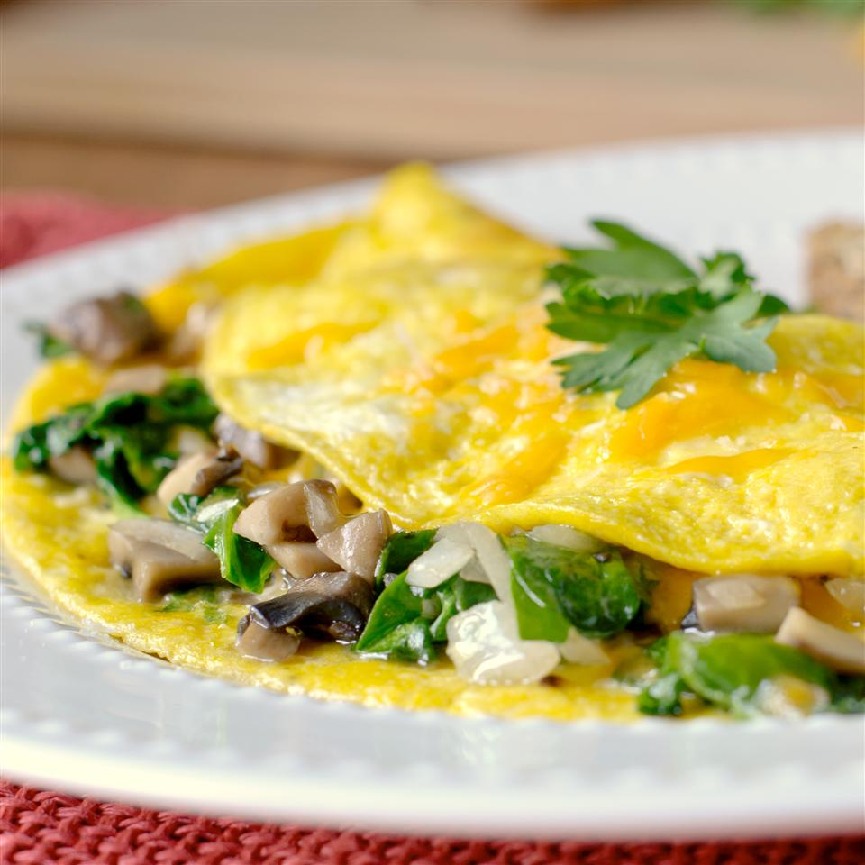 Mushroom Spinach Omelet - Printer Friendly