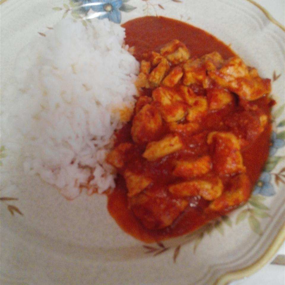 Chicken with Red Chile Sauce and Sausage (Pollo con Salsa Rojo y Chorizo) anabel