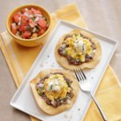 Black Bean & Chipotle Tostadas with Creme Fraiche
