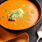 Paprika & Red Pepper Soup with Pistachio Puree