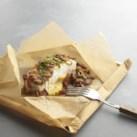 Halibut Packets with Mushrooms & Polenta