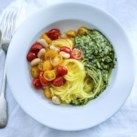 Spaghetti Squash with Roasted Tomatoes, Beans & Almond Pesto