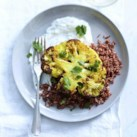 Curried Cauliflower Steaks with Red Rice & Tzatziki