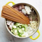 Healthy One-Pot Pasta Meals Slideshow - Sure, there are times when you want to make a slow-simmered Bolognese. But when you're in a rush, try these genius one-pot pasta recipes. Combine your raw ingredients—pasta, protein, vegetables and seasonings—in the same pot and add just enough water to cook the pasta. The starch that usually cooks off into your pasta water stays in the pot and mingles with the seasonings to create a delectably creamy sauce.