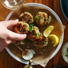 Crab & Pea Cakes with Sesame-Ginger Aioli