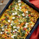 Sweet Potato, Sausage and Goat Cheese Egg Casserole
