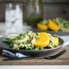 Warm Chicken Salad with Peas & Polenta