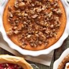 Crustless Pistachio-Topped Sweet Potato Pie