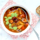 Minestrone with Italian Sausage & Pesto
