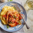 Swordfish with Olives, Capers & Tomatoes over Polenta