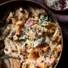 Penne Pasta with Sausage, Butternut Squash & Chard